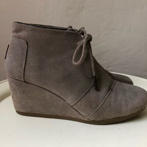 TOMS Suede Lace Up Wedges